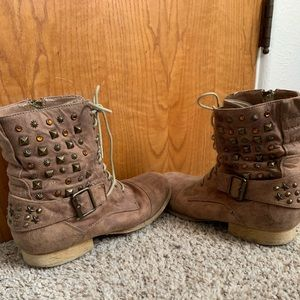 Studded suede tan boots